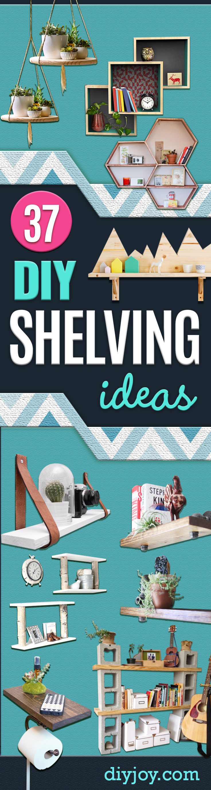 DIY Shelves and Do It Yourself Shelving Ideas - Easy Step by Step Shelf Projects for Bedroom, Bathroom, Closet, Wall, Kitchen and Apartment. Floating Units, Rustic Pallet Looks and Simple Storage Plans
