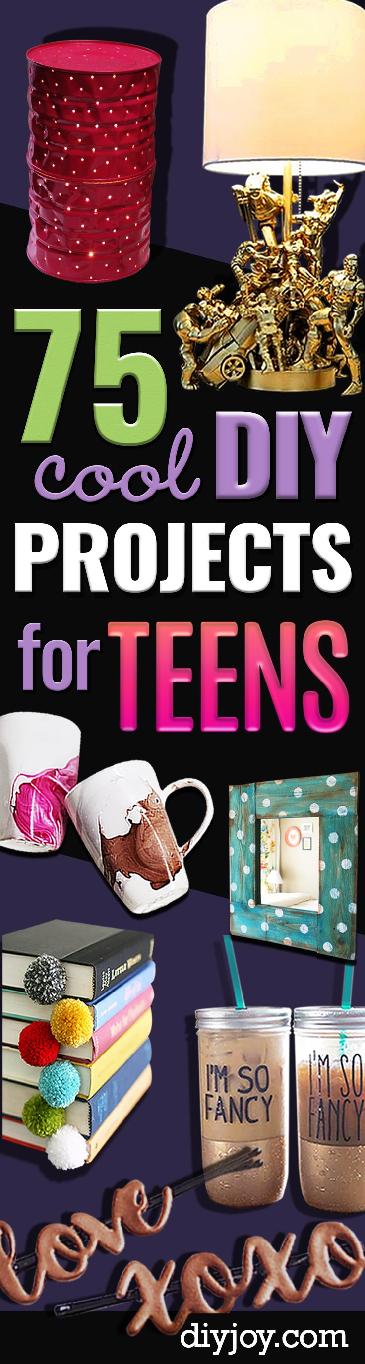 DIY Projects for Teenagers - crafts for teens - Cool Teen Crafts Ideas for Bedroom Decor, Gifts, Clothes and Fun Room Organization. Summer and Awesome School Stuff