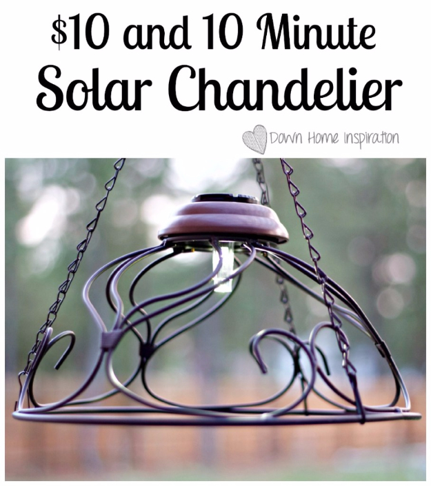 DIY Chandelier Ideas and Project Tutorials - $10 And 10 Minute Solar Chandelier - Easy Makeover Tips, Rustic Pipe, Crystal, Rustic, Mason Jar, Beads. Bedroom, Outdoor and Wedding Girls Room Lighting Ideas With Step by Step Instructions