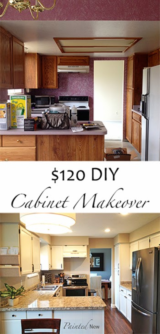 DIY Kitchen Makeover Ideas - $120 Kitchen Cabinet Makeover - Cheap Projects Projects You Can Make On A Budget - Cabinets, Counter Tops, Paint Tutorials, Islands and Faux Granite. Tutorials and Step by Step Instructions