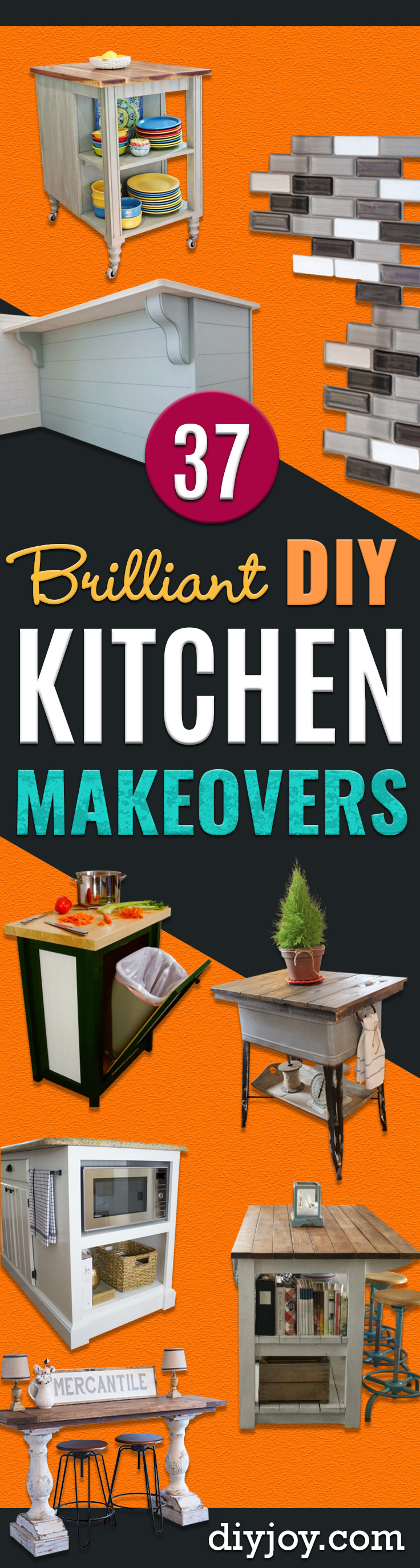 DIY Kitchen Makeover Ideas - Cheap Projects Projects You Can Make On A Budget - Cabinets, Counter Tops, Paint Tutorials, Islands and Faux Granite. Tutorials and Step by Step Instructions http://diyjoy.com/diy-kitchen-makeovers