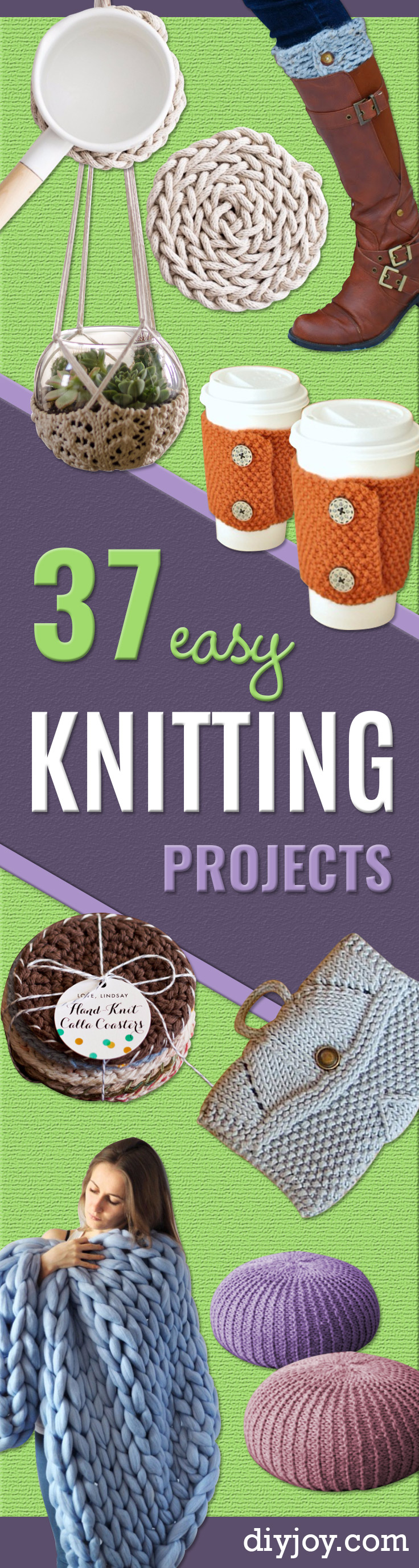 38 Easy Knitting Ideas - Knitting Ideas For Beginners, Cute Knit Projects, DIY Knitting Ideas And Patterns, Easy Knitting Crafts, Gifts You Can Knit, Knitted Decors #knitting