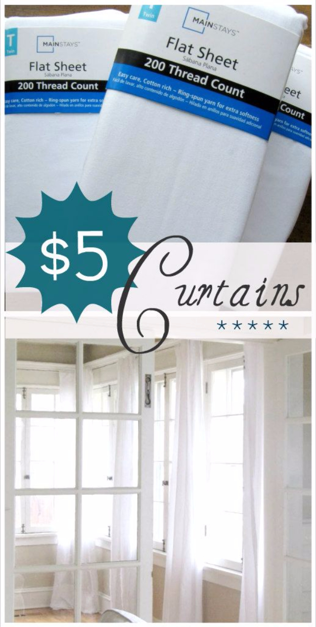 50 DIY Curtains and Drapery Ideas - $5 Curtains - Easy No Sew Ideas and Step by Step Tutorials for Drapes and Curtain Ideas - Cheap and Creative Projects for Bedroom, Living Room, Kitchen, Kids and Teen Rooms - Simple Draperies for Fabric, Made Out of Sheets, Blackout Curtains and Valances #sewing #diydecor #drapes #decoratingideas