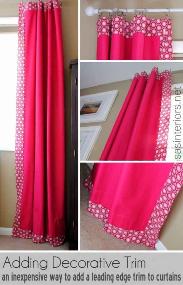 40 DIY Ways to Dress Up Boring Windows - Add A Decorative Trim To Curtains - Cool Crafts and DIY Ideas to Make Awesome Bedrooms, Living Room Decor - Easy No Sew Ideas, Cheap Ideas for Makeovers, Painting and Sewing Tutorials With Step by Step Instructions for Awesome Home Decor