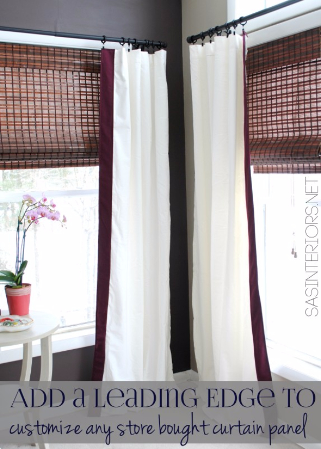 40 DIY Ways to Dress Up Boring Windows - Add A Leading Edge To Store Bought Curtains - Cool Crafts and DIY Ideas to Make Awesome Bedrooms, Living Room Decor - Easy No Sew Ideas, Cheap Ideas for Makeovers, Painting and Sewing Tutorials With Step by Step Instructions for Awesome Home Decor