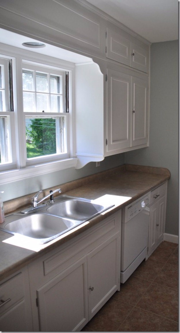 DIY Kitchen Makeover Ideas - Add Cabinet Molding - Cheap Projects Projects You Can Make On A Budget - Cabinets, Counter Tops, Paint Tutorials, Islands and Faux Granite. Tutorials and Step by Step Instructions