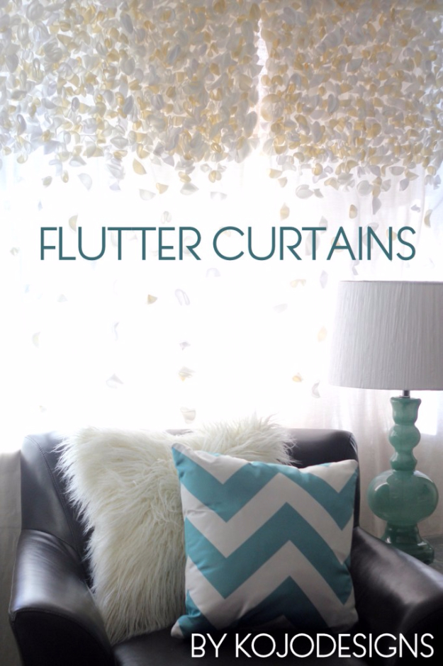 50 DIY Curtains and Drapery Ideas - Anthropologie Knock Off Flutter Curtains - Easy No Sew Ideas and Step by Step Tutorials for Drapes and Curtain Ideas - Cheap and Creative Projects for Bedroom, Living Room, Kitchen, Kids and Teen Rooms - Simple Draperies for Fabric, Made Out of Sheets, Blackout Curtains and Valances #sewing #diydecor #drapes #decoratingideas