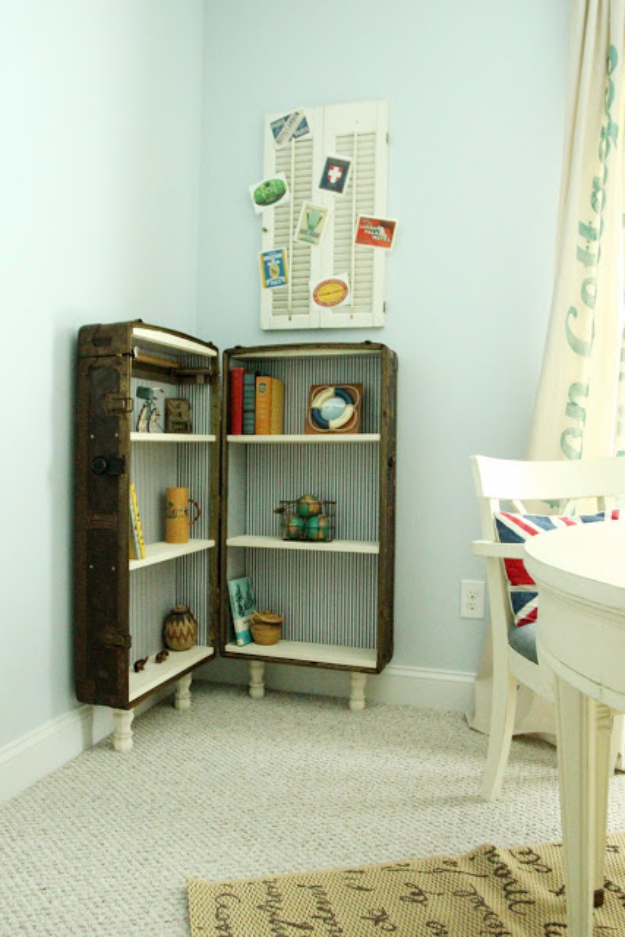 Upcycled Furniture Projects - Antique Trunk Bookcase - Repurposed Home Decor and Furniture You Can Make On a Budget. Easy Vintage and Rustic Looks for Bedroom, Bath, Kitchen and Living Room. #upcycled #diyideas #diyfurniture