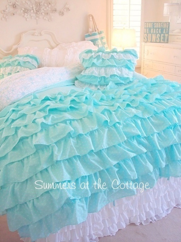 Shabby chic decor and bedding ideas aqua ruffled comforter rustic