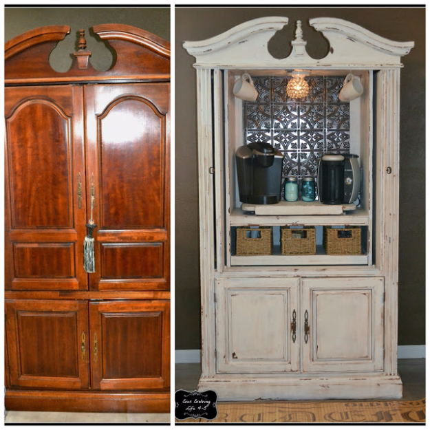 Upcycled Furniture Projects - Armoire Turned Coffee Bar - Repurposed Home Decor and Furniture You Can Make On a Budget. Easy Vintage and Rustic Looks for Bedroom, Bath, Kitchen and Living Room. #diyfurniture #upcycling #diydecor