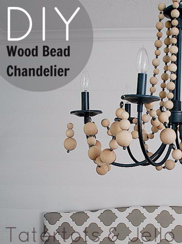 DIY Chandelier Ideas and Project Tutorials - Beachy Wood Bead Chandelier - Easy Makeover Tips, Rustic Pipe, Crystal, Rustic, Mason Jar, Beads. Bedroom, Outdoor and Wedding Girls Room Lighting Ideas With Step by Step Instructions