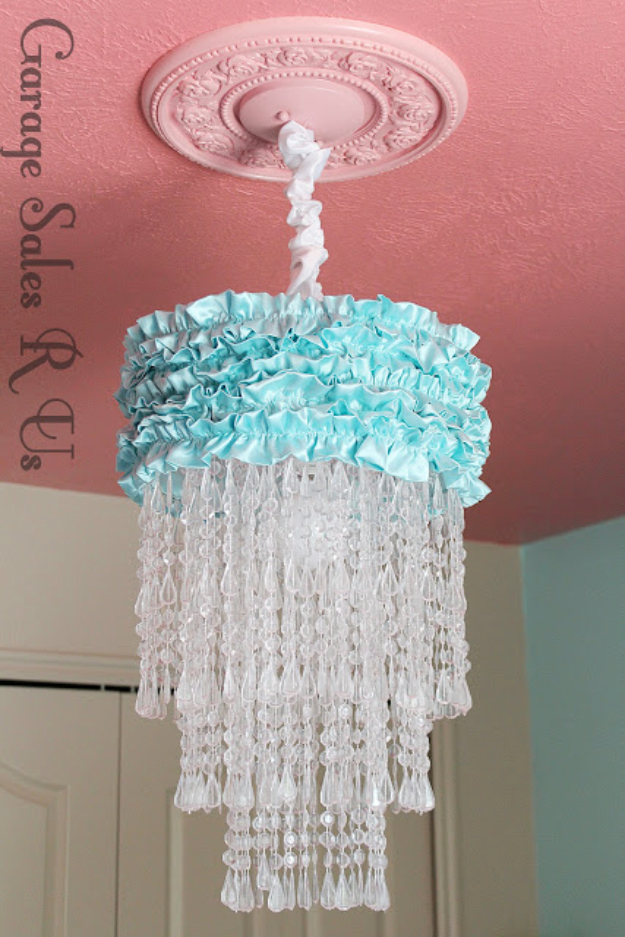 DIY Chandelier Ideas and Project Tutorials - Bead And Ruffle Chandelier - Easy Makeover Tips, Rustic Pipe, Crystal, Rustic, Mason Jar, Beads. Bedroom, Outdoor and Wedding Girls Room Lighting Ideas With Step by Step Instructions