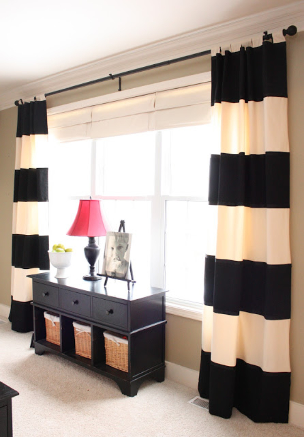 50 DIY Curtains and Drapery Ideas - Bold Striped DIY Drapes - Easy No Sew Ideas and Step by Step Tutorials for Drapes and Curtain Ideas - Cheap and Creative Projects for Bedroom, Living Room, Kitchen, Kids and Teen Rooms - Simple Draperies for Fabric, Made Out of Sheets, Blackout Curtains and Valances #sewing #diydecor #drapes #decoratingideas