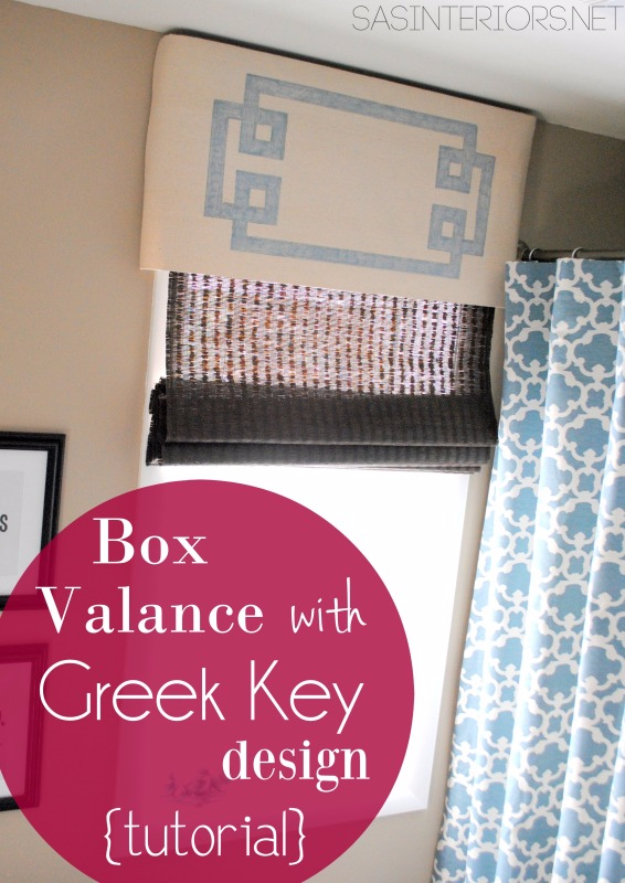 40 DIY Ways to Dress Up Boring Windows - Box Valance With Greek Key Design - Cool Crafts and DIY Ideas to Make Awesome Bedrooms, Living Room Decor - Easy No Sew Ideas, Cheap Ideas for Makeovers, Painting and Sewing Tutorials With Step by Step Instructions for Awesome Home Decor