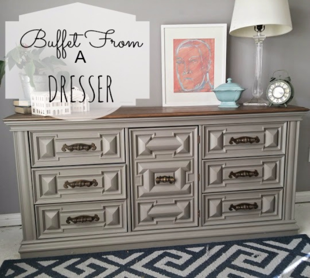 Upcycled Furniture Projects - Buffet From A Dresser- Repurposed Home Decor and Furniture You Can Make On a Budget. Easy Vintage and Rustic Looks for Bedroom, Bath, Kitchen and Living Room. #upcycled #diyideas #diyfurniture