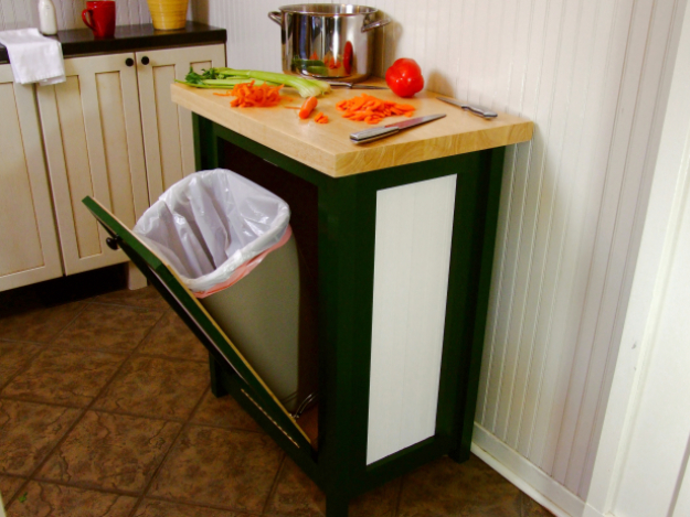 DIY Kitchen Makeover Ideas - Build A Trash Bin With A Butcher Block Countertop - Cheap Projects Projects You Can Make On A Budget - Cabinets, Counter Tops, Paint Tutorials, Islands and Faux Granite. Tutorials and Step by Step Instructions