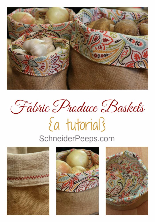 DIY Projects Made From Trash - Burlap And Fabric Produce Basket Tutorial - Cool Crafts and DIY Made from Upcycled Items You Don't Want To Throw Away. Home Decor, Gifts and Fun Ideas for Kids, Adults and Teens