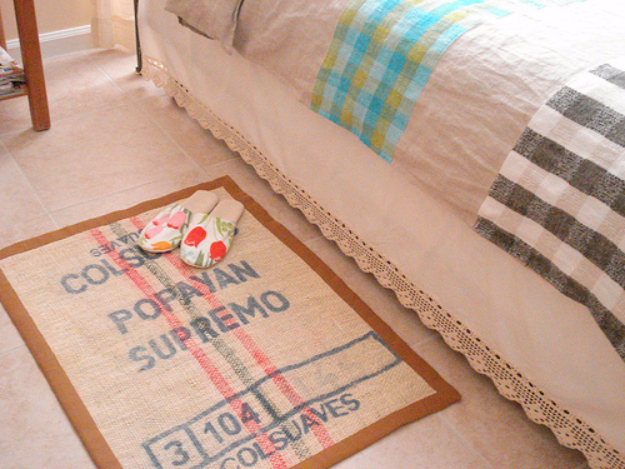 DIY Projects Made From Trash - Burlap Bedroom Rug - Cool Crafts and DIY Made from Upcycled Items You Don't Want To Throw Away. Home Decor, Gifts and Fun Ideas for Kids, Adults and Teens http://diyjoy.com/diy-projects-made-from-trash
