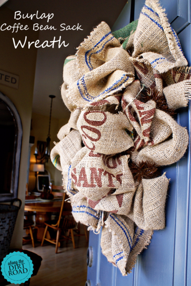 DIY Projects Made From Trash - Burlap Coffee Bean Sack Wreath - Cool Crafts and DIY Made from Upcycled Items You Don't Want To Throw Away. Home Decor, Gifts and Fun Ideas for Kids, Adults and Teens http://diyjoy.com/diy-projects-made-from-trash