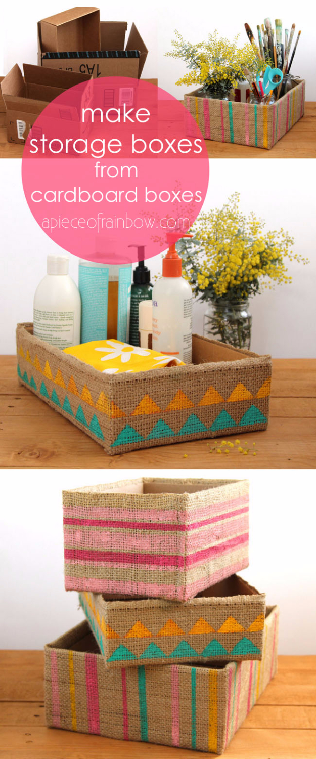 DIY Projects Made From Trash - Burlap Storage Box - Cool Crafts and DIY Made from Upcycled Items You Don't Want To Throw Away. Home Decor, Gifts and Fun Ideas for Kids, Adults and Teens