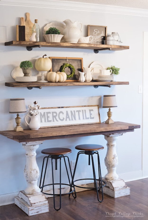 DIY Kitchen Makeover Ideas - Chippy Farmhouse Style Buffet - Cheap Projects Projects You Can Make On A Budget - Cabinets, Counter Tops, Paint Tutorials, Islands and Faux Granite. Tutorials and Step by Step Instructions