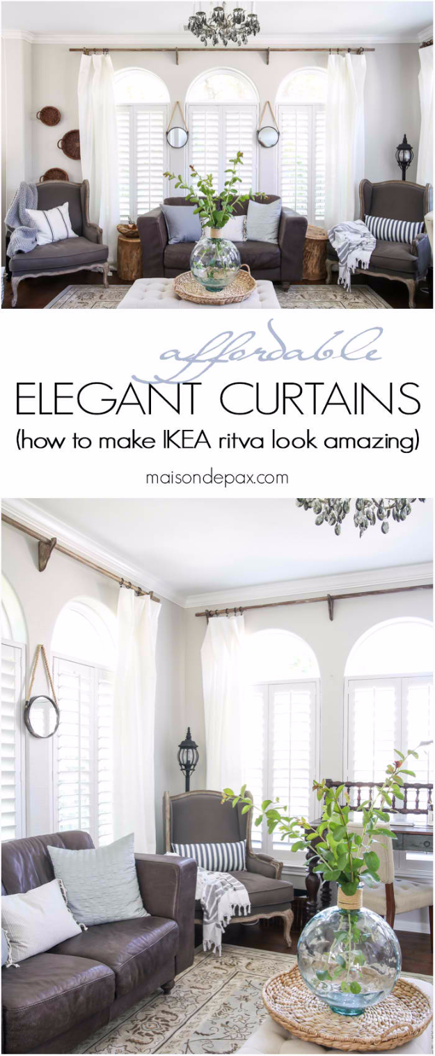 40 DIY Ways to Dress Up Boring Windows - Classy Yet Affordable White Curtains - Cool Crafts and DIY Ideas to Make Awesome Bedrooms, Living Room Decor - Easy No Sew Ideas, Cheap Ideas for Makeovers, Painting and Sewing Tutorials With Step by Step Instructions for Awesome Home Decor
