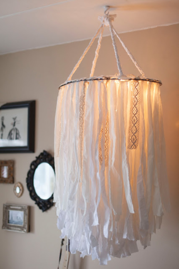 DIY Chandelier Ideas and Project Tutorials - Cloth Chandelier - Easy Makeover Tips, Rustic Pipe, Crystal, Rustic, Mason Jar, Beads. Bedroom, Outdoor and Wedding Girls Room Lighting Ideas With Step by Step Instructions