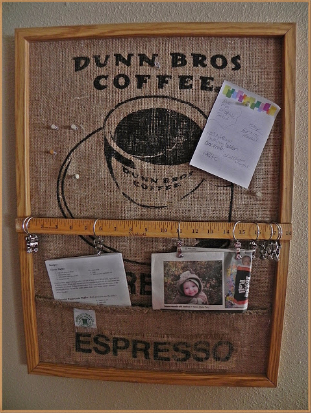DIY Projects Made From Trash - Coffee Bag Bulletin Board - Cool Crafts and DIY Made from Upcycled Items You Don't Want To Throw Away. Home Decor, Gifts and Fun Ideas for Kids, Adults and Teens c