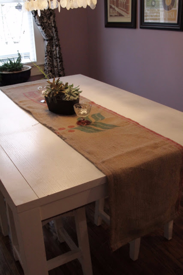 DIY Projects Made From Trash - Coffee Bean Sack Table Runner - Cool Crafts and DIY Made from Upcycled Items You Don't Want To Throw Away. Home Decor, Gifts and Fun Ideas for Kids, Adults and Teens