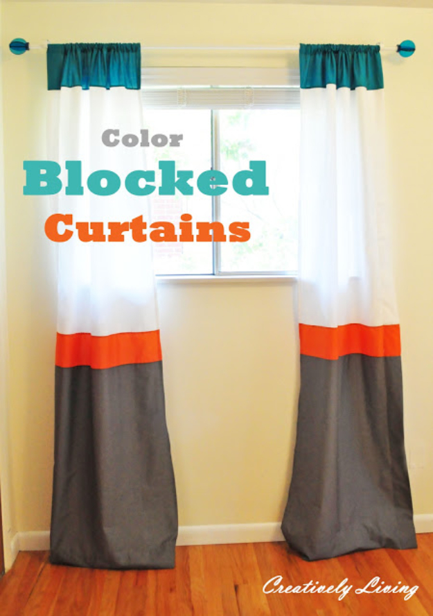40 DIY Ways to Dress Up Boring Windows - Color Blocked Curtains - Cool Crafts and DIY Ideas to Make Awesome Bedrooms, Living Room Decor - Easy No Sew Ideas, Cheap Ideas for Makeovers, Painting and Sewing Tutorials With Step by Step Instructions for Awesome Home Decor