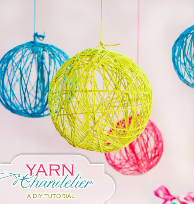 DIY Chandelier Ideas and Project Tutorials - Creative Yarn Chandelier - Easy Makeover Tips, Rustic Pipe, Crystal, Rustic, Mason Jar, Beads. Bedroom, Outdoor and Wedding Girls Room Lighting Ideas With Step by Step Instructions