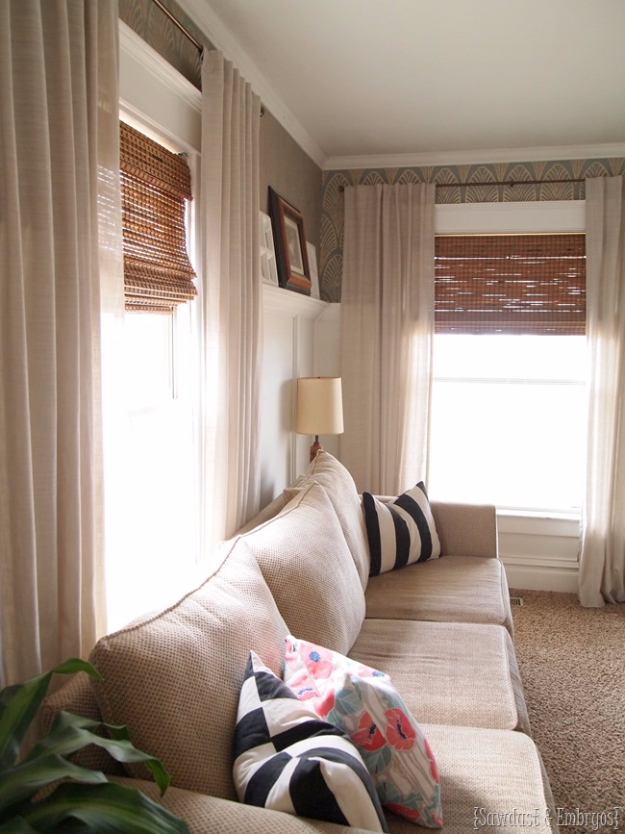 50 diy curtains and drapery ideas for Bamboo shades in living room