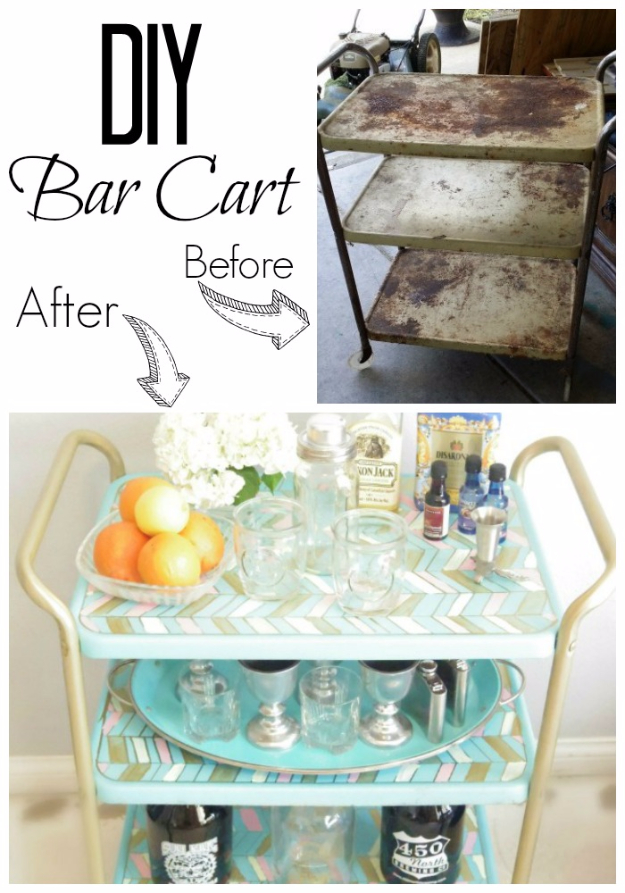 Upcycled Furniture Projects - DIY Bar Cart - Repurposed Home Decor and Furniture You Can Make On a Budget. Easy Vintage and Rustic Looks for Bedroom, Bath, Kitchen and Living Room. #upcycled #diyideas #diyfurniture