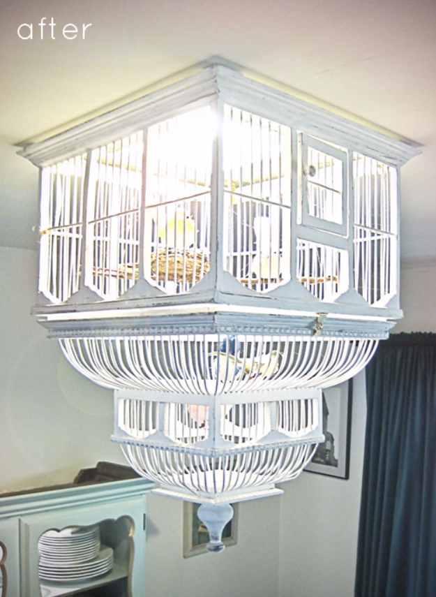 DIY Chandelier Ideas and Project Tutorials - DIY Birdcage Chandelier - Easy Makeover Tips, Rustic Pipe, Crystal, Rustic, Mason Jar, Beads. Bedroom, Outdoor and Wedding Girls Room Lighting Ideas With Step by Step Instructions