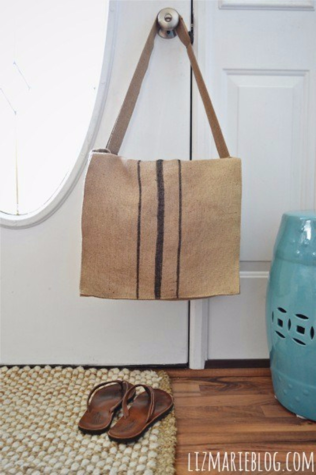 DIY Projects Made From Trash - DIY Burlap Messenger Bag - Cool Crafts and DIY Made from Upcycled Items You Don't Want To Throw Away. Home Decor, Gifts and Fun Ideas for Kids, Adults and Teens http://diyjoy.com/diy-projects-made-from-trash