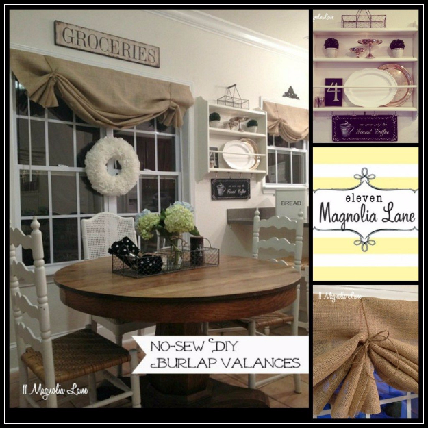50 DIY Curtains and Drapery Ideas - DIY Burlap Window Valance - Easy No Sew Ideas and Step by Step Tutorials for Drapes and Curtain Ideas - Cheap and Creative Projects for Bedroom, Living Room, Kitchen, Kids and Teen Rooms - Simple Draperies for Fabric, Made Out of Sheets, Blackout Curtains and Valances #sewing #diydecor #drapes #decoratingideas