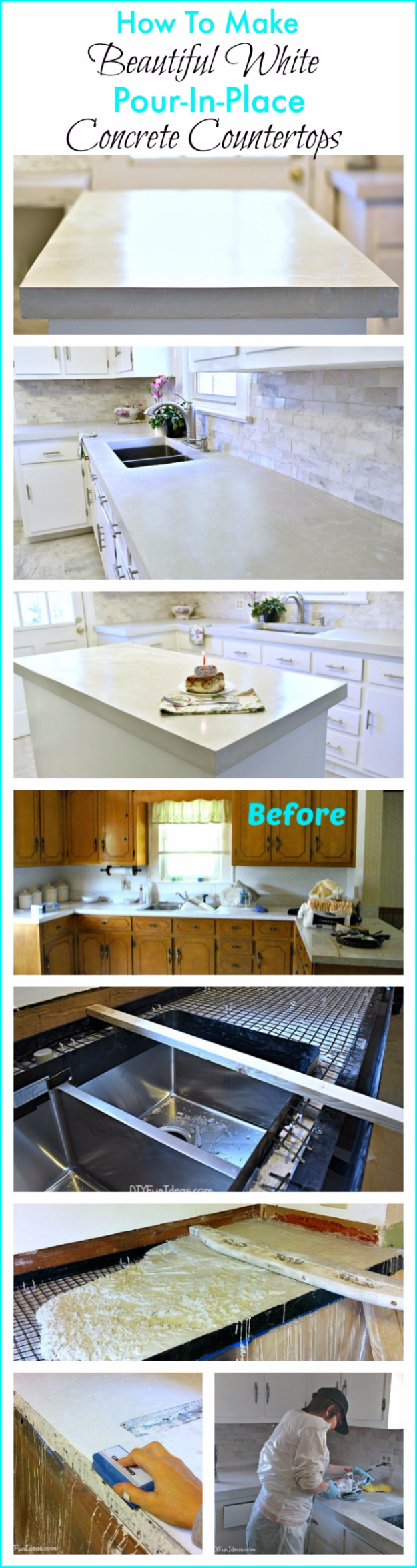 DIY Kitchen Makeover Ideas - DIY Cast In Place White Concrete Countertops - Cheap Projects Projects You Can Make On A Budget - Cabinets, Counter Tops, Paint Tutorials, Islands and Faux Granite. Tutorials and Step by Step Instructions