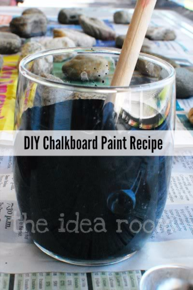 32 DIY Paint Techniques and Recipes - DIY Chalkboard Paint Recipe - Cool Painting Ideas for Walls and Furniture - Awesome Tutorials for Stencil Projects and Easy Step By Step Tutorials for Painting Beautiful Backgrounds and Patterns. Modern, Vintage, Distressed and Classic Looks for Home, Living Room, Bedroom and More http://diyjoy.com/diy-paint-techniques