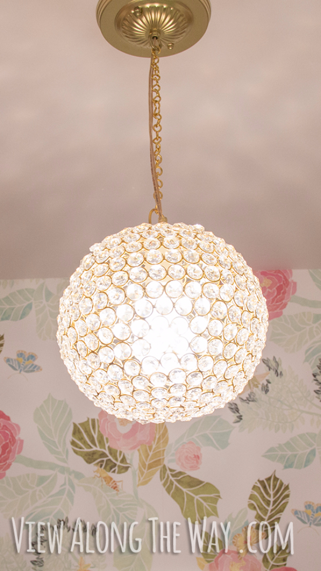DIY Chandelier Ideas and Project Tutorials - DIY Crystal Ball Chandelier - Easy Makeover Tips, Rustic Pipe, Crystal, Rustic, Mason Jar, Beads. Bedroom, Outdoor and Wedding Girls Room Lighting Ideas With Step by Step Instructions