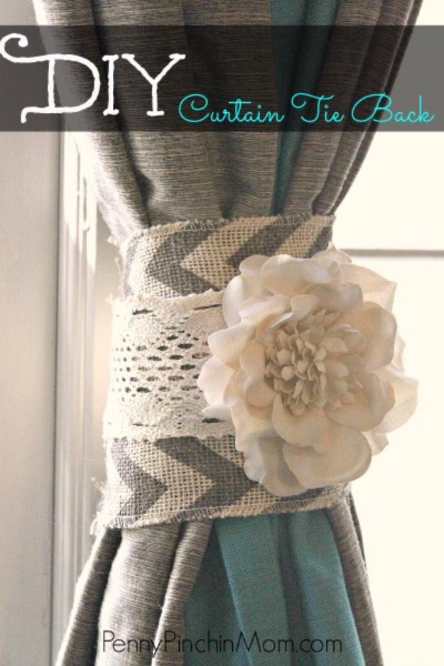 Shabby Chic Decor and Bedding Ideas - DIY Curtain Tie Back - Rustic and Romantic Vintage Bedroom, Living Room and Kitchen Country Cottage Furniture and Home Decor Ideas. Step by Step Tutorials and Instructions http://diyjoy.com/diy-shabby-chic-decor-bedding