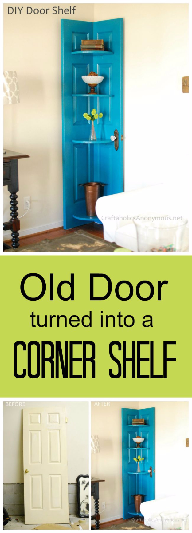 Upcycled Furniture Projects - DIY Door Shelf Tutorial - Repurposed Home Decor and Furniture You Can Make On a Budget. Easy Vintage and Rustic Looks for Bedroom, Bath, Kitchen and Living Room. #upcycled #diyideas #diyfurniture