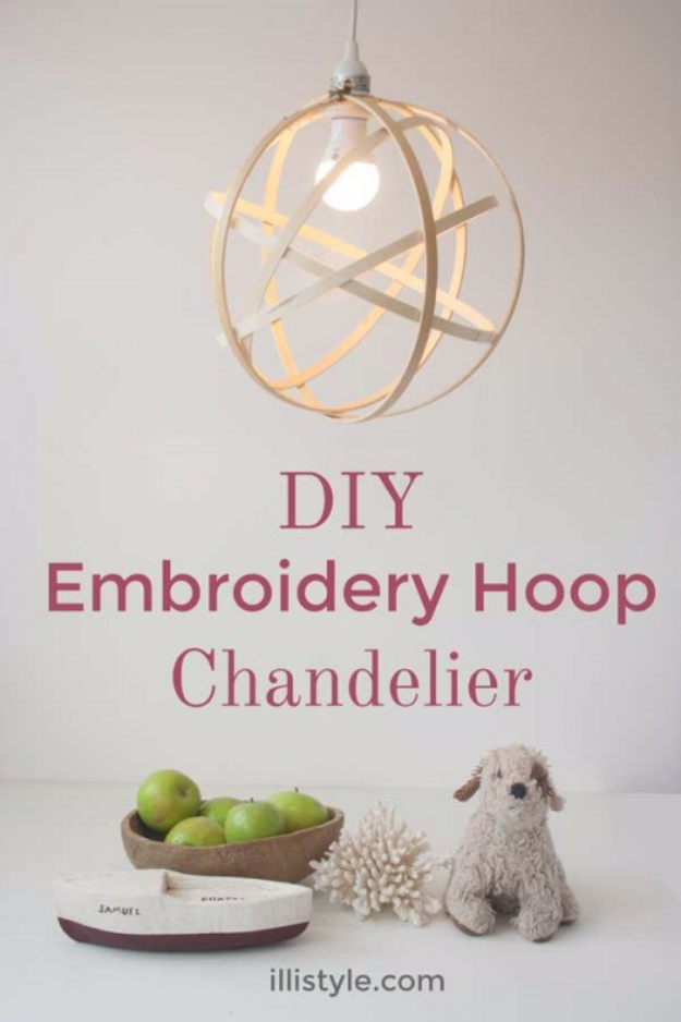 DIY Chandelier Ideas and Project Tutorials - DIY Embroidery Hoop Faux Metal Orb Chandelier - Easy Makeover Tips, Rustic Pipe, Crystal, Rustic, Mason Jar, Beads. Bedroom, Outdoor and Wedding Girls Room Lighting Ideas With Step by Step Instructions