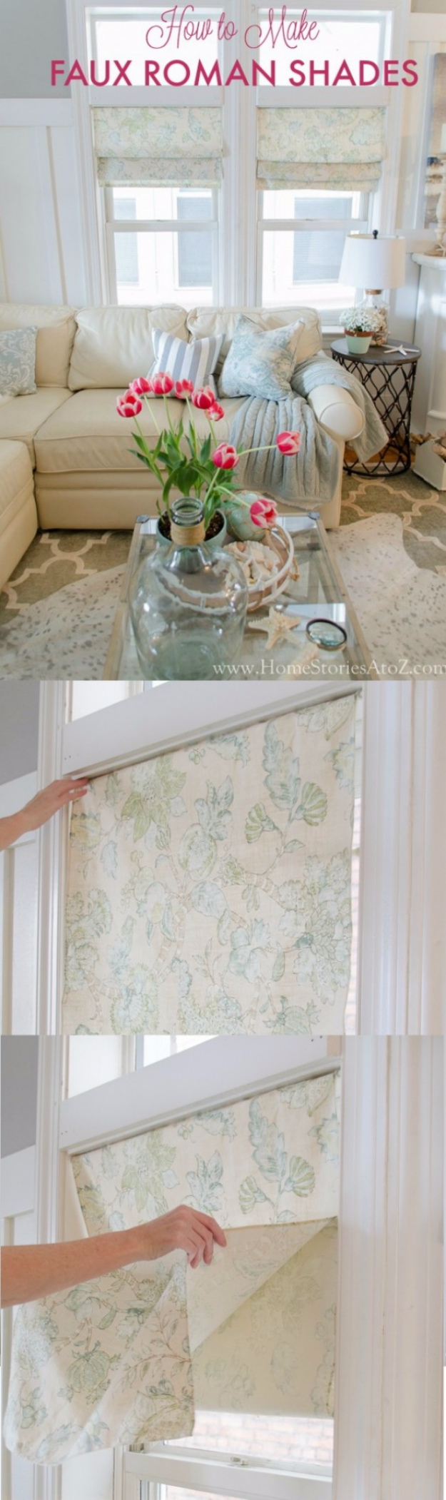 50 DIY Curtains And Drapery Ideas   DIY Faux Roman Shades   Easy No Sew  Ideas