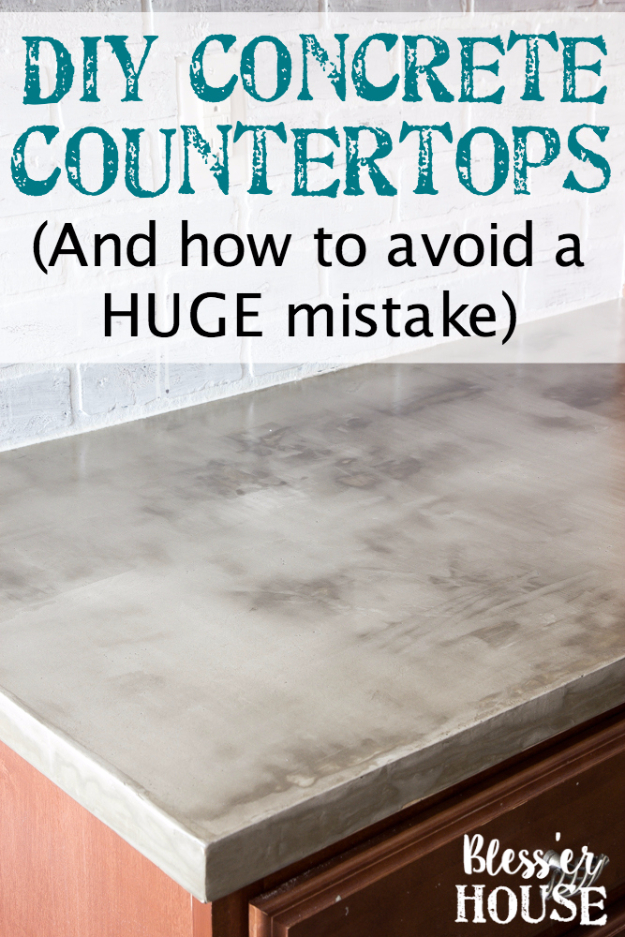 DIY Kitchen Makeover Ideas - DIY Feather Finish Concrete Countertops - Cheap Projects Projects You Can Make On A Budget - Cabinets, Counter Tops, Paint Tutorials, Islands and Faux Granite. Tutorials and Step by Step Instructions