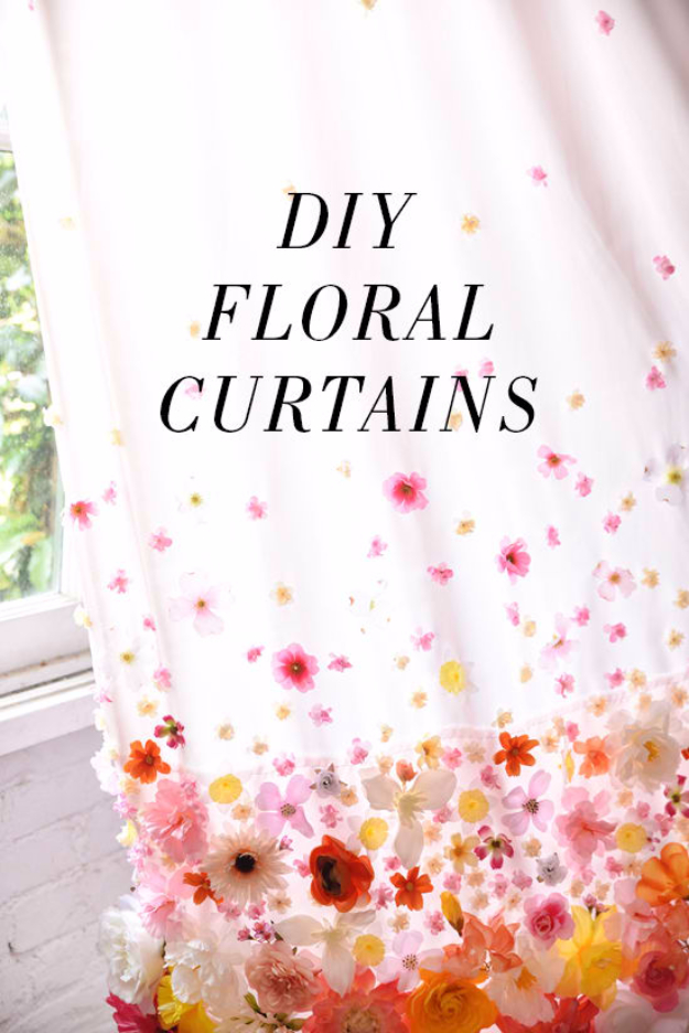 40 DIY Ways to Dress Up Boring Windows - DIY Floral Curtains - Cool Crafts and DIY Ideas to Make Awesome Bedrooms, Living Room Decor - Easy No Sew Ideas, Cheap Ideas for Makeovers, Painting and Sewing Tutorials With Step by Step Instructions for Awesome Home Decor