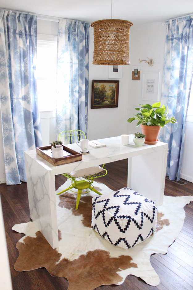 40 DIY Ways to Dress Up Boring Windows - DIY Fold And Clamp Tie Dye - Cool Crafts and DIY Ideas to Make Awesome Bedrooms, Living Room Decor - Easy No Sew Ideas, Cheap Ideas for Makeovers, Painting and Sewing Tutorials With Step by Step Instructions for Awesome Home Decor