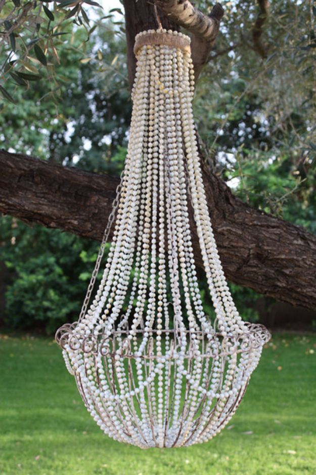 DIY Chandelier Ideas and Project Tutorials - DIY French Beaded Chandelier - Easy Makeover Tips, Rustic Pipe, Crystal, Rustic, Mason Jar, Beads. Bedroom, Outdoor and Wedding Girls Room Lighting Ideas With Step by Step Instructions