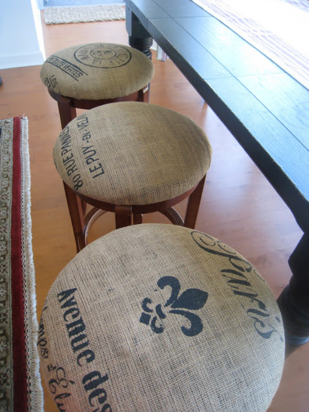 DIY Projects Made From Trash - DIY French Grain Sack Bar Stools - Cool Crafts and DIY Made from Upcycled Items You Don't Want To Throw Away. Home Decor, Gifts and Fun Ideas for Kids, Adults and Teens