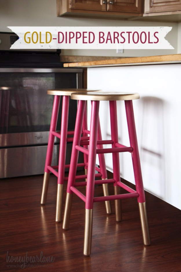 DIY Furniture Refinishing Tips - DIY GOld Dipped Bar Stools - Creative Ways to Redo Furniture With Paint and DIY Project Techniques - Awesome Dressers, Kitchen Cabinets, Tables and Beds - Rustic and Distressed Looks Made Easy With Step by Step Tutorials - How To Make Creative Home Decor On A Budget