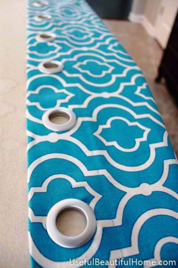 40 DIY Ways to Dress Up Boring Windows - DIY Grommet Curtain From Counter Skirt - Cool Crafts and DIY Ideas to Make Awesome Bedrooms, Living Room Decor - Easy No Sew Ideas, Cheap Ideas for Makeovers, Painting and Sewing Tutorials With Step by Step Instructions for Awesome Home Decor